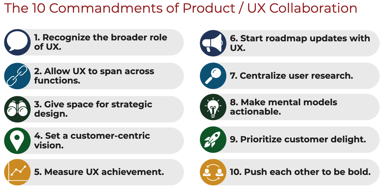 The 10 Commandments for Product - UX Design Collaboration